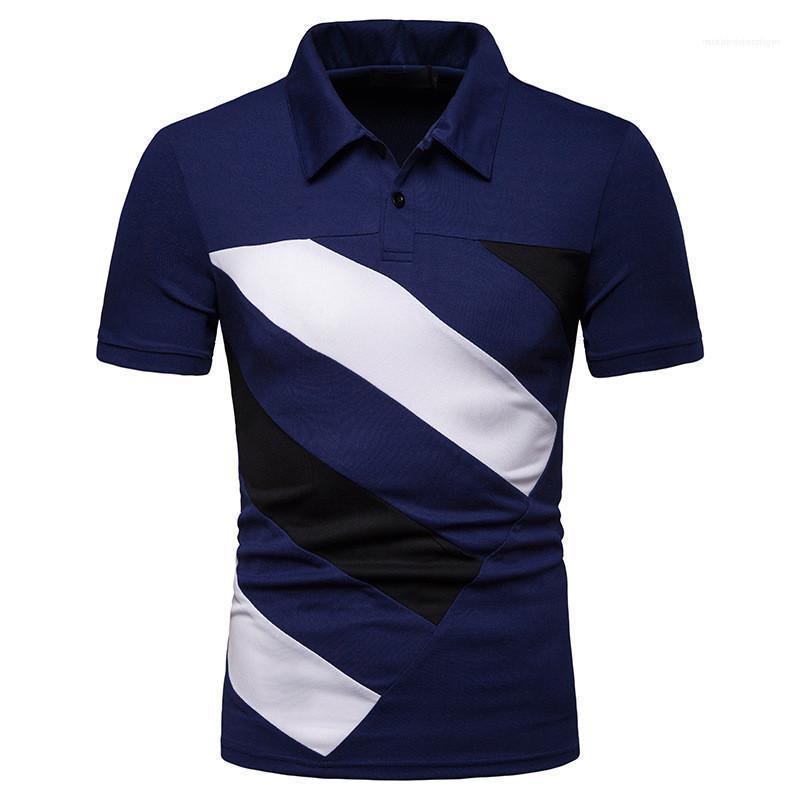 T-shirts lambrissés Couleurs mode T-shirts manches courtes Casual Lapel Neck T-shirts pour hommes Vêtements patchwork Hommes Designer