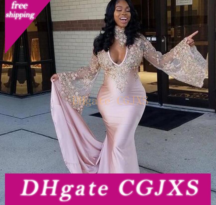 Negro niñas vestidos de baile de manga larga de color de rosa formal atractivo de la tarde del África Vestidos Sexy cuello en V vestido de sirena embarazada