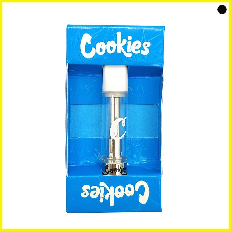 Novos cookies carrinhos Vape Cartucho vazio caneta descartável cerâmico 0.8ml Atomizer OEM marca personalizado oem push empacotando o tanque de vidro claro