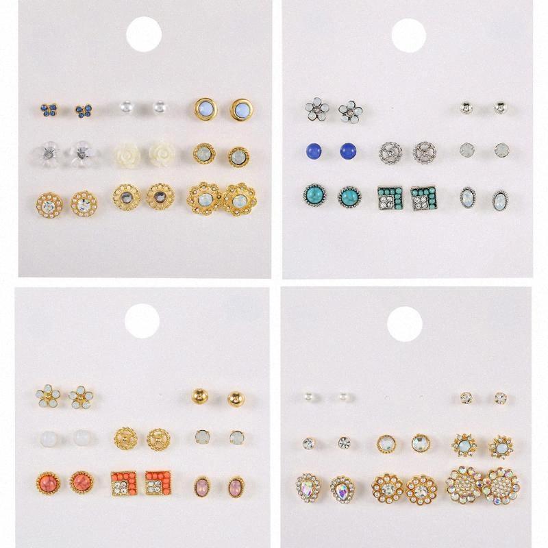 8 pares / set Moda Liga Cristal Rhinestone Brincos para Mulheres bonito do metal Resina Flor Stud Brincos Set kpop 1igo #
