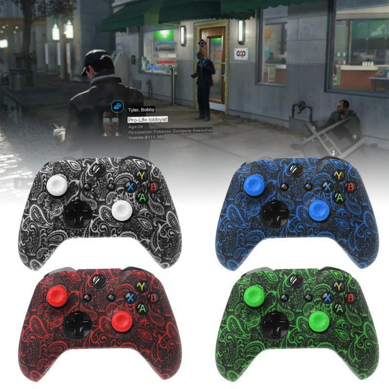 Cgjxs For Xbox One S /X Controller Case Soft Silicone Cases Comfortable Gamepad Skin Printing Rubber Joystick Cover &2 Analog Caps