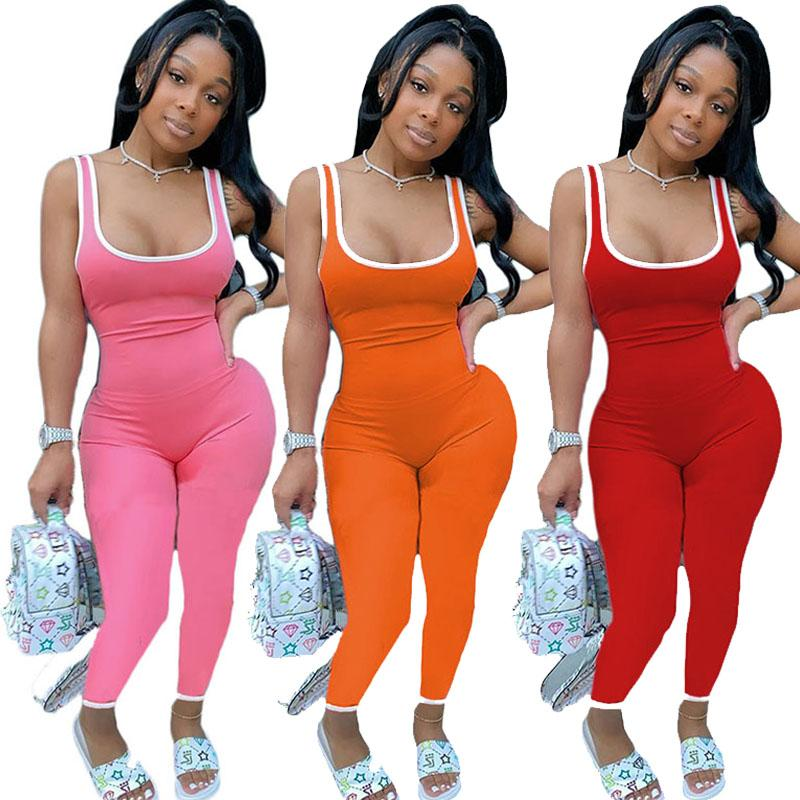Women Jumpsuits Summer Sleeveless Sexy Rompers Ladies Playsuits Sports Yoga Jumpsuit Onesies Pants Fashion Skinny Romper 050820