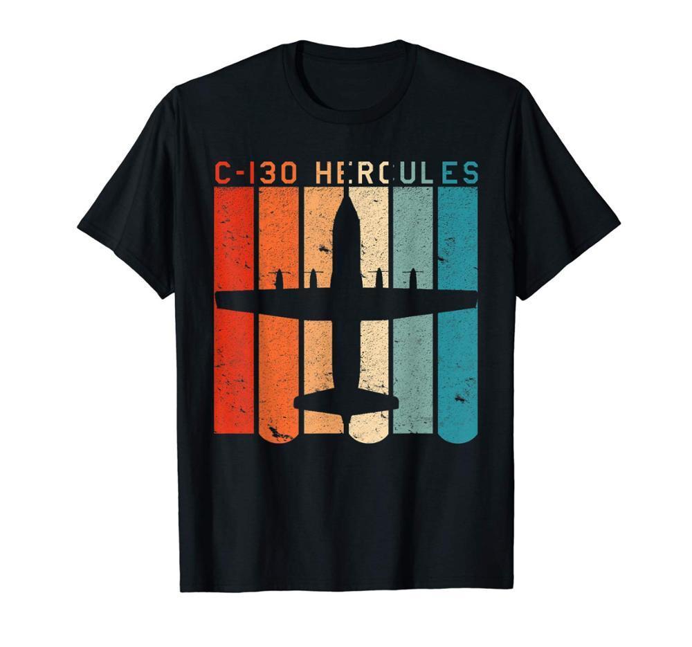 Aviación camiseta del estilo del C-130 Hércules del aeroplano retro 2019 nuevos del verano de los hombres de algodón fresco manga corta T-shirts