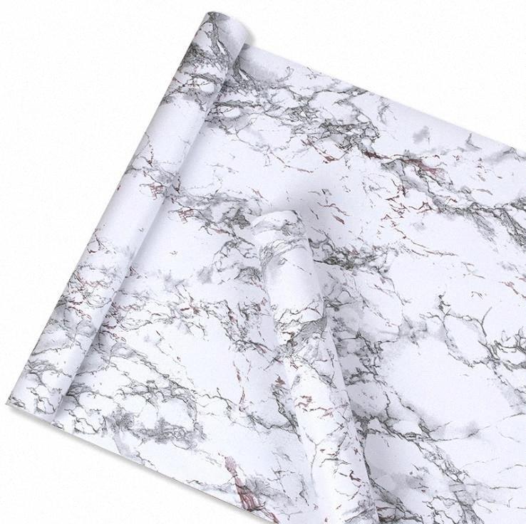 Imitation White Marble Sticker Waterproof PVC Self Adhesive Wallpaper Furniture Renovation Stickers Home Decor Film KeZu#