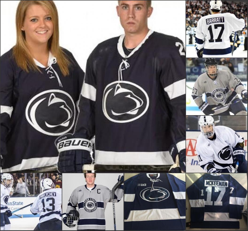 Penn State Nittany Lions Hockey сшитого Джерси 7 Evan Bell 26 Лиам Folkes 4 Kris Миллари 10 Brandon Биро 17 Evan Баррэтт 21 Kevin Wall