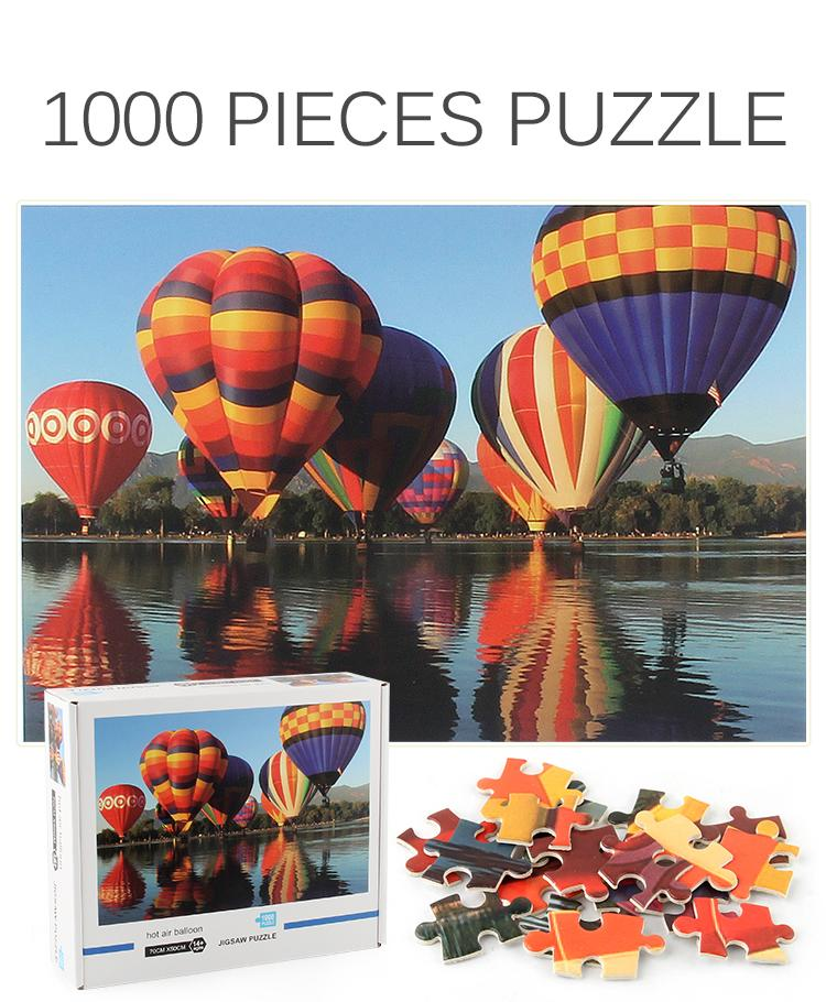 Cross-border puzzle 1000 pieces adult decompression educational toys landscape painting space hot air balloon can be customized wholesale