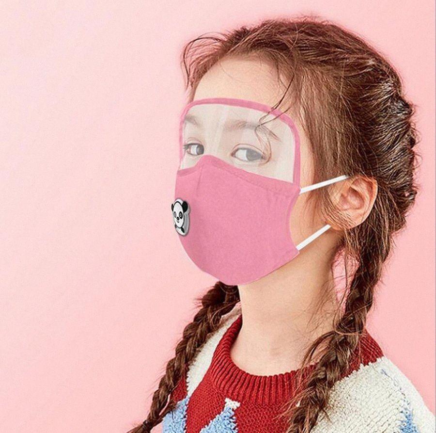 Enfants 2 en 1 Visage Bouclier Cartoon Transparent Eye Shield anti-poussière lavable en coton Masques réutilisables visage OOA8178 9bTQ #