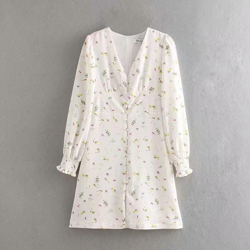 2019 kadın zarif v yaka çiçeği vestidos uzun mini elbise kadın fransız tarzı baskı gündelik ince tokaları elbiseler DS2734 Y200805 manşonlu