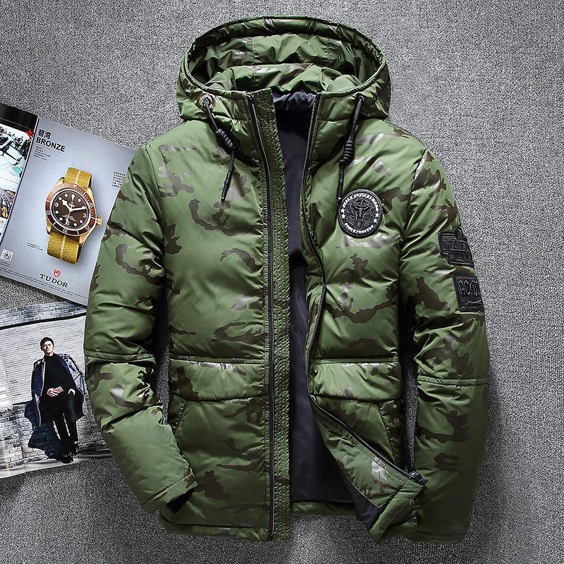 Aşağı ceketler Erkekler Dış Giyim Kalın Kar Parkas Kapşonlu Coat Erkek Casual Termal Windproof Aşağı Jacket Ördek Erkekler Kış Sıcak Beyaz