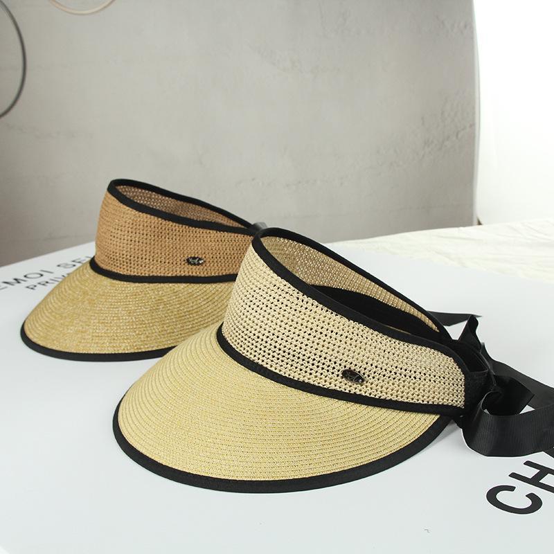 2020 Женщины New Summer Bowknot Пустой Топ соломы Cap Visor Caps Shade Hat Повседневный Солнцезащитный Бич вскользь Регулируемые Девочка шлемов Sun