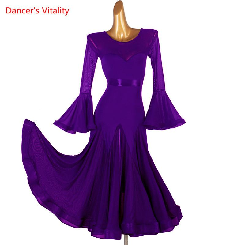 New Lace Ballroom Dance Dress For Woman Long Sleeves Waltz Tango Dance Dresses Standard Ballroom Dress Black