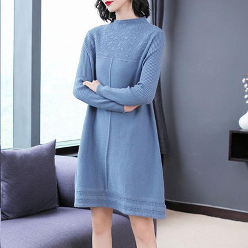 WYWAN 2019 otoño minimalista suéteres vestidos O-cuello de las mujeres de invierno tapas de moda estilo coreano de tejer vestidos ocasionales sólidos T200817