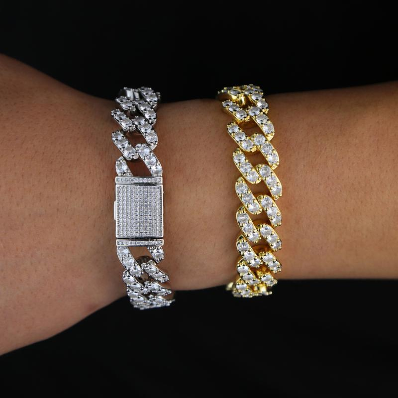 sparking 5A cz paved 15mm Heavy Miami Cuban Link Chain Bracelet Full Iced Out cubic zirconia Bling Bling Hiphop Jewelry For Men