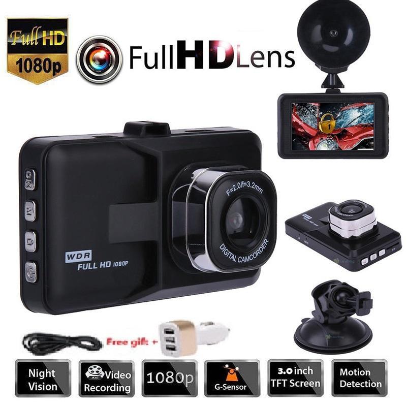 """3.0"""" Cartão de memória do gravador de veículos 1080P carro DVR Painel 32GB DVR Câmera de Vídeo Traço Cam G-Sensor GPS grátis"""