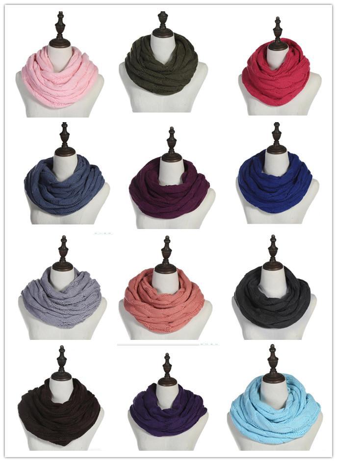 Nuovo Inverno donne Infinity sciarpa 25 colori caldi casuale di lavoro a maglia morbida Anello Sciarpe girocollo Snood Sciarpe Scialli per Lady