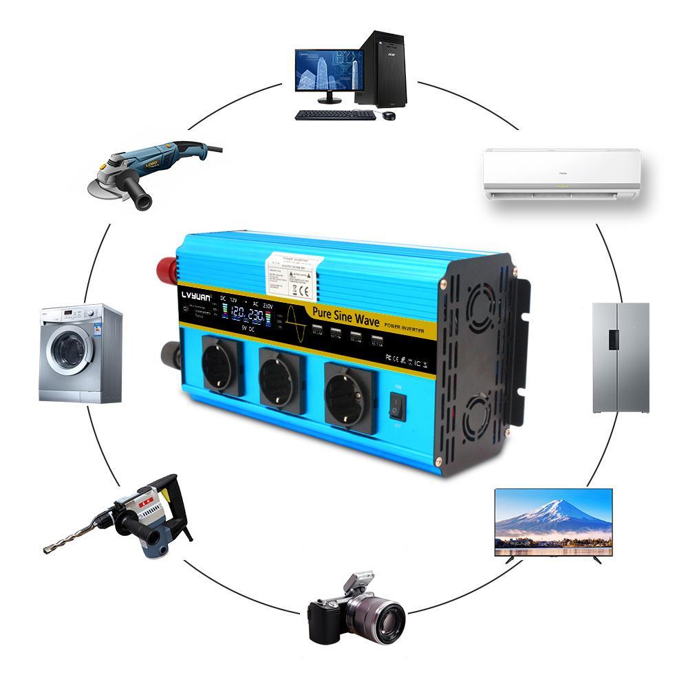 Freeshipping12000W Power Wechselrichter DC 12V bis AC 220V 230V 240V-Wandlerversorgung Solar LCD-Bildschirm Spannungsanzeige USB-Fernbedienung EU-Sockel