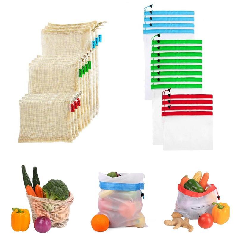 de malla de algodón reutilizable producen bolsas de la compra amigable eco-bolso de totalizadores bolsas de mano vegetales comestibles almacenamiento en el hogar de la fruta de poliéster