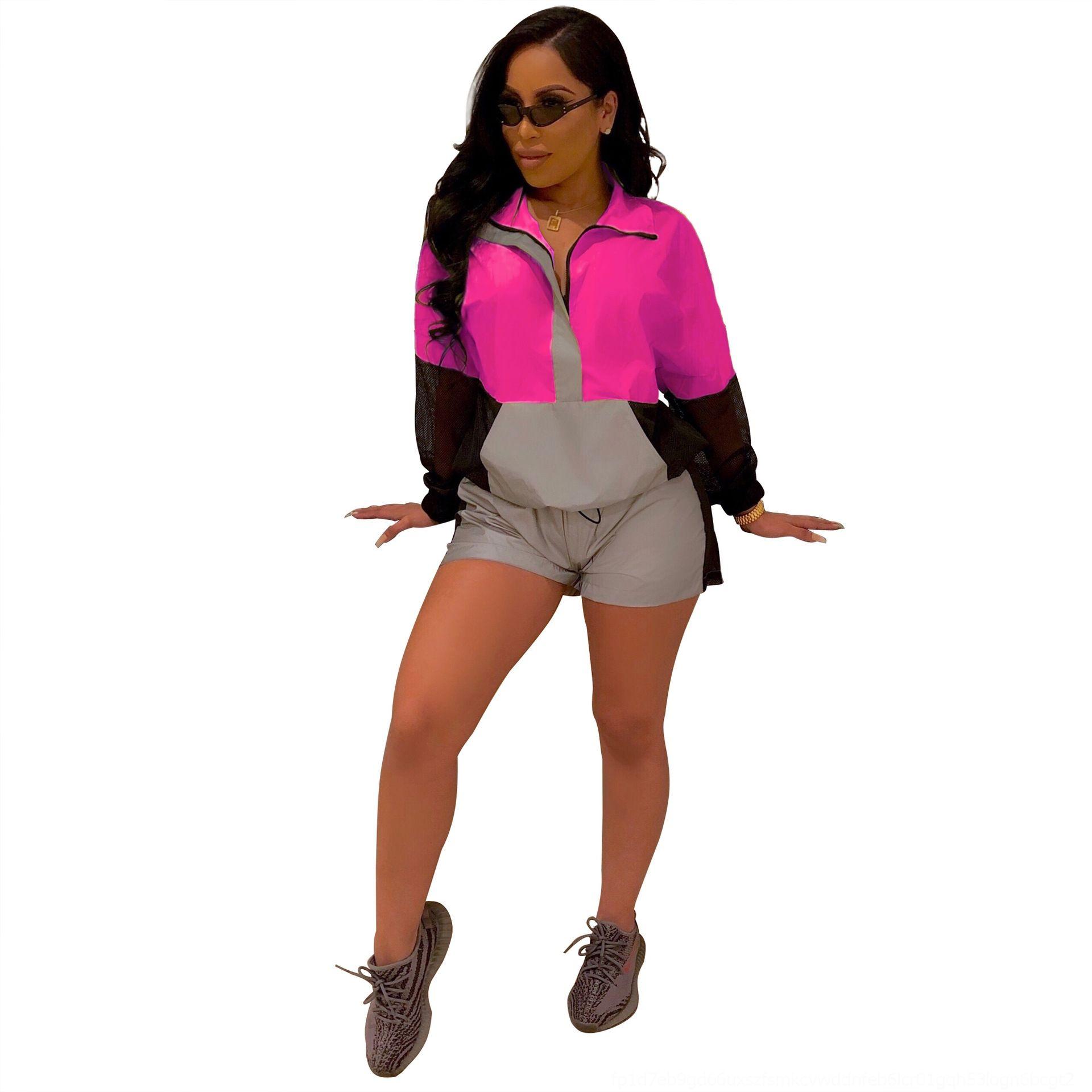 S4s50 JgyJm QJ5239 Frauen lang Klagefrauen reflektierende Nachtclub passende reflektierende Farbe Sport Ärmelart neuen Anzug