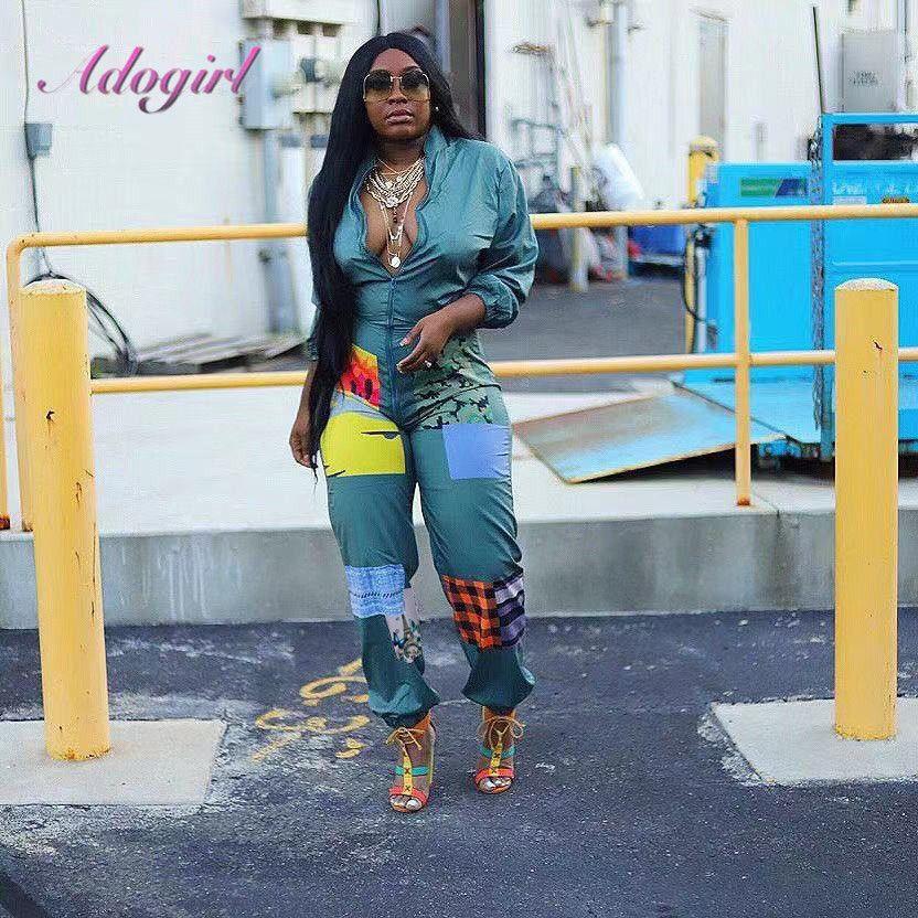 Kadınlar Renkli Baskı Patchwork Gece Kulübü Tulum Casual Uzun Kollu O Boyun Fermuar Up tulum Kıyafet Streetwear tulumları T200808