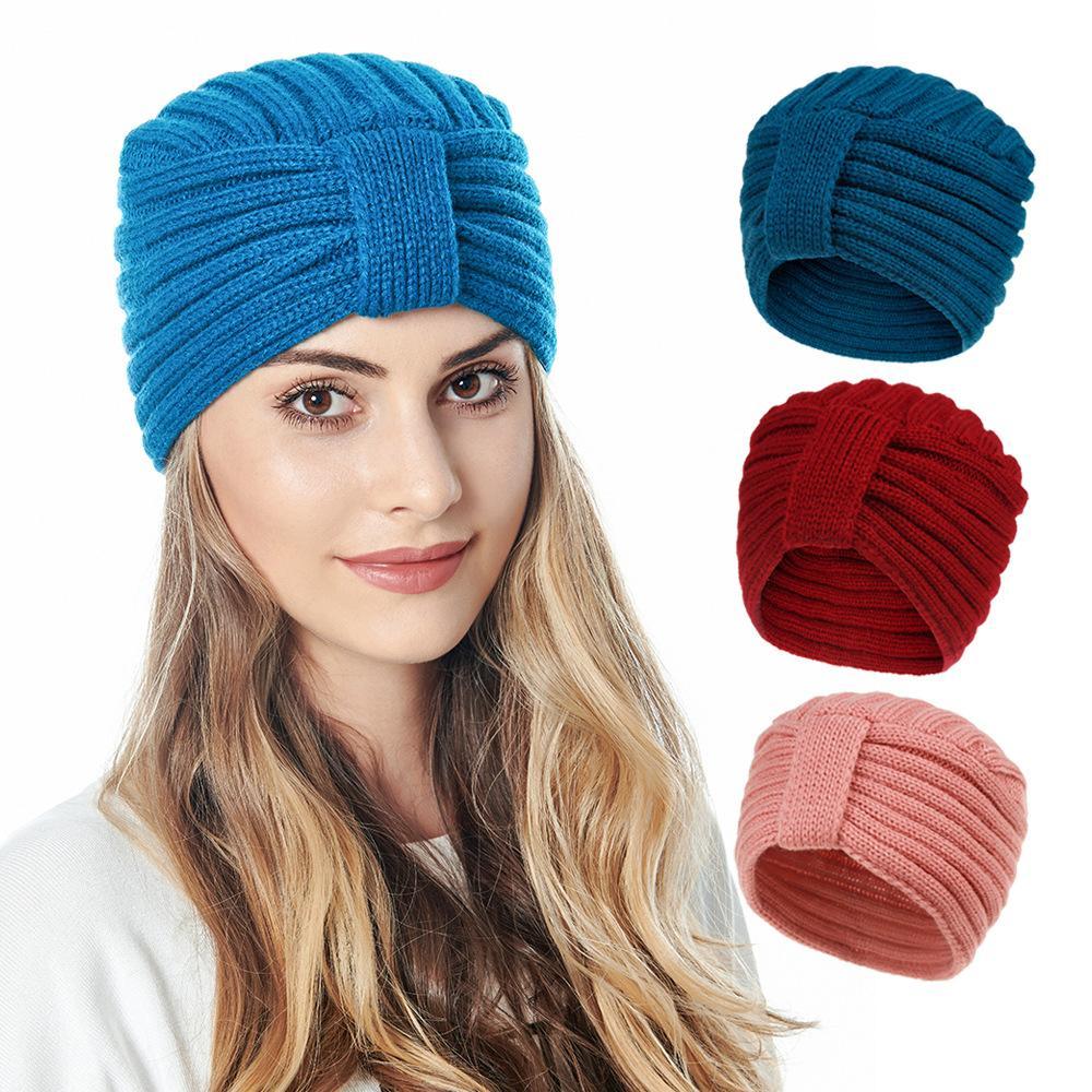 S1704 الجديد خريف وشتاء البوهيمي النساء حك قبعة بيني عقدة سيدة محبوك قبعة دافئة كاب الكروشيه القبعات