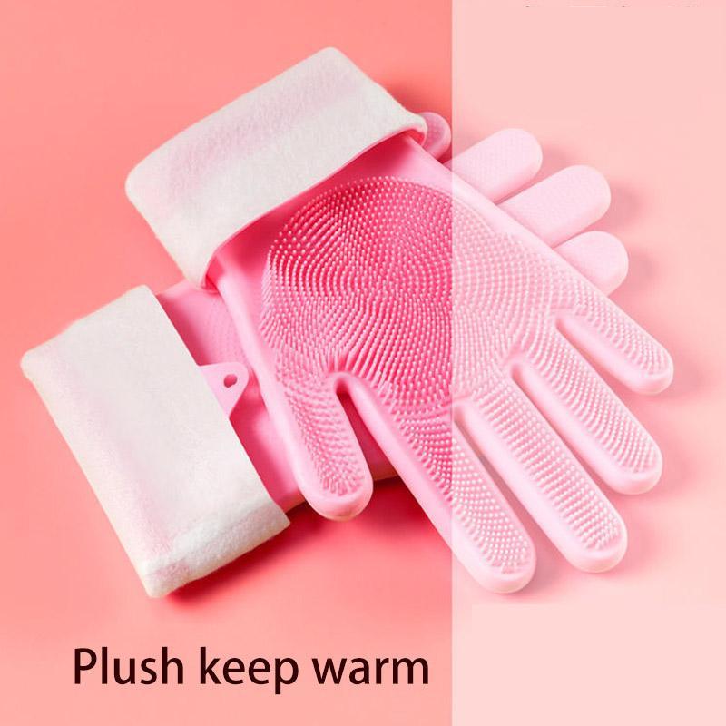 1 par felpa mantener el calor guantes de cocina de silicona de limpieza para lavar vajilla magia del depurador de guantes de goma para lavar la vajilla Novedades para la cocina