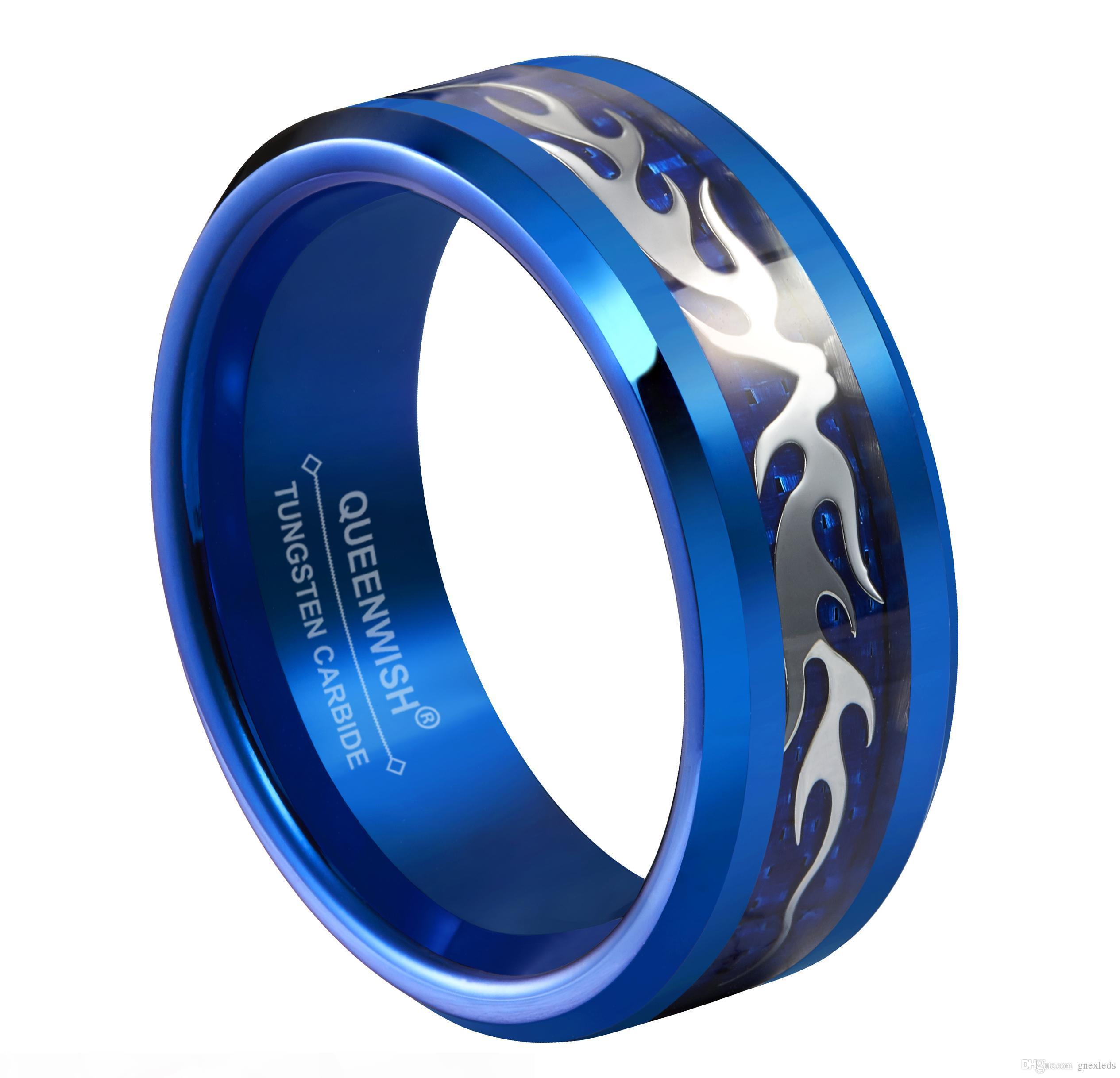 Queenwish? Wedding Bands 8mm Bats Argento Infinity blu alla moda di tungsteno Promessa