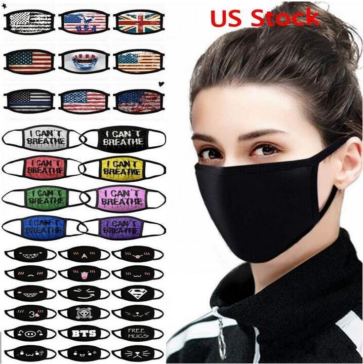US-amerikanische Vorrat verstellbare Anti-Staub-Gesichtsmaske Schwarz Baumwoll-Mundmaske Muffel-Maske für Radfahren Camping 100% Baumwolle waschbare wiederverwendbare Stoffmasken