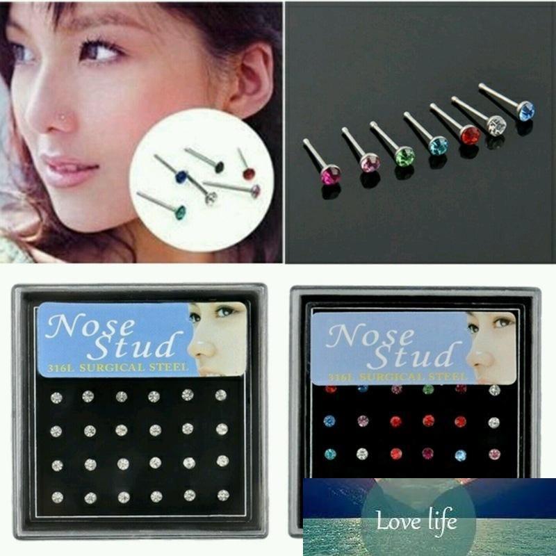 2 mm de diamantes de imitación de diamante de calidad calientes Mini pendiente simples anillo de la nariz de la joyería 24PCS mayor caja de precio
