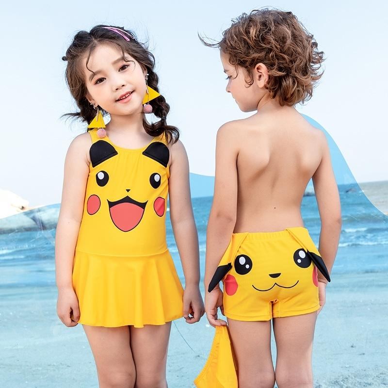 rYxQH PwF0F 2020 new children's cute and girl one-piece swimsuit sister swimming' boys trunks brother baby cartoon swimsuit