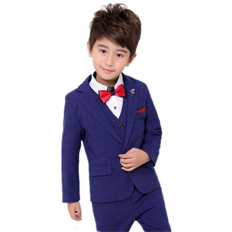 Boys Suits For Weddings Gentleman Kids Party Costume Boys Blazer Vest Pants 3pcs Tuxedo Clothing Set Child Formal Clothes F021