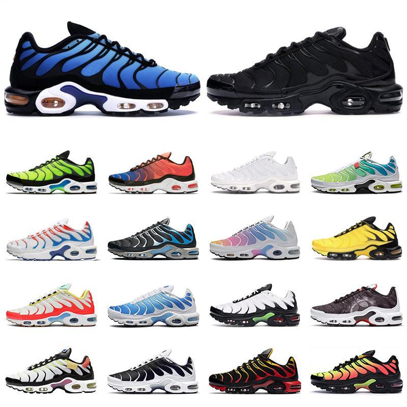 TN air max Plus SE shoes erkekler koşu ayakkabı üçlü siyah beyaz kırmızı 3D Gözlük Hiper mavi Sprey boya erkek eğitmen nefes spor sneakers