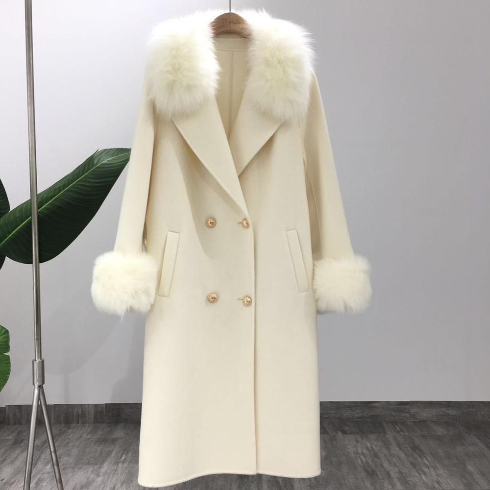 LaVelache New Cashmere Coat Wool Blends Long Real Fur Coat Winter Jacket Women Natural Fox Fur Collar Outerwear Streetwear T200814