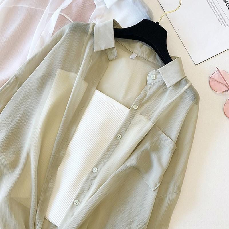 wkWOL 2020 chemise printemps style mousseline d'été manteau conditionné tout match climatisé shirt loose chic crème solaire coréenne de l'air et les femmes co