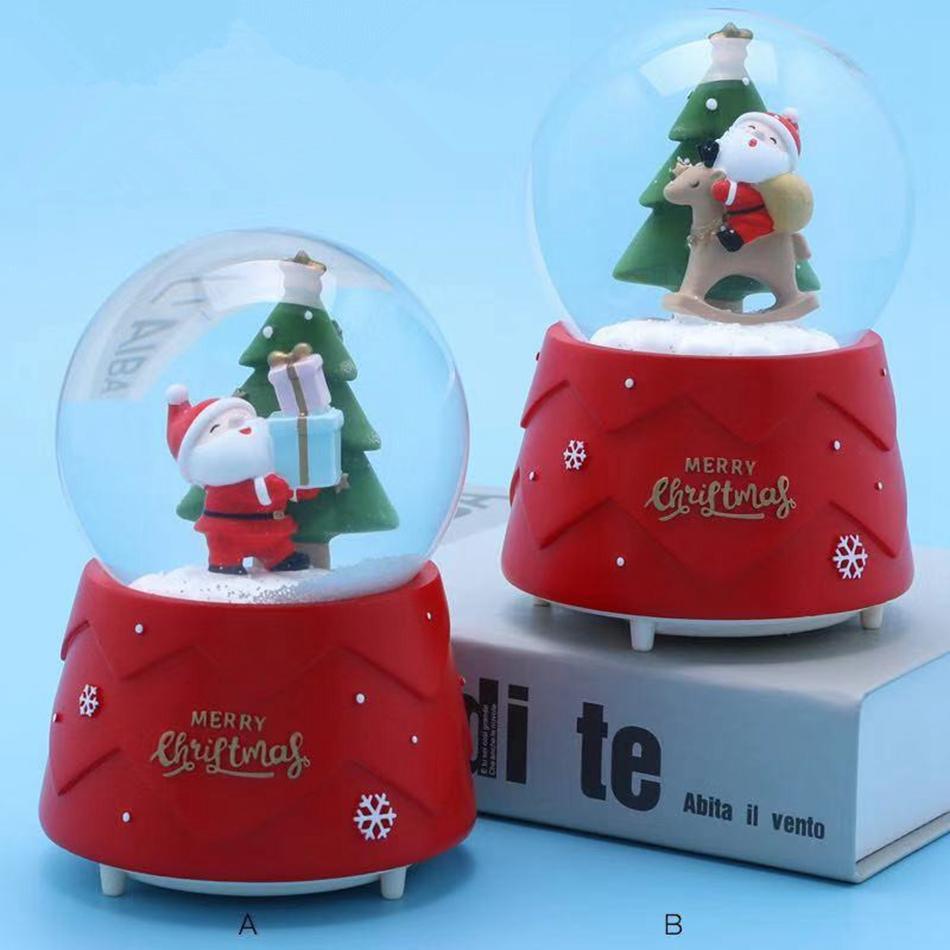 Fiesta de la boda cristalina del regalo de la novedad de la bola caja de música con la luz del copo de nieve de Santa muñeco de nieve del árbol de Navidad del regalo de cumpleaños caja de música LJJA3465-2