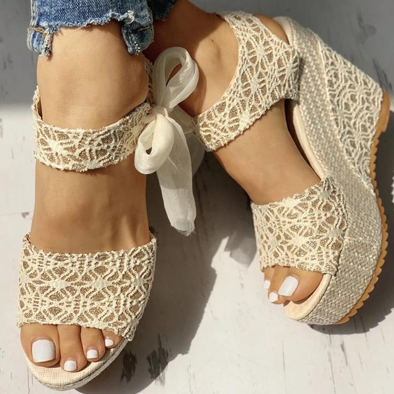 новый женские летние сандалии клиньев матового пипа носок ботинки женщин зашнуровать платформы мод случайного пляжа дамы сандалии плюс размер нового
