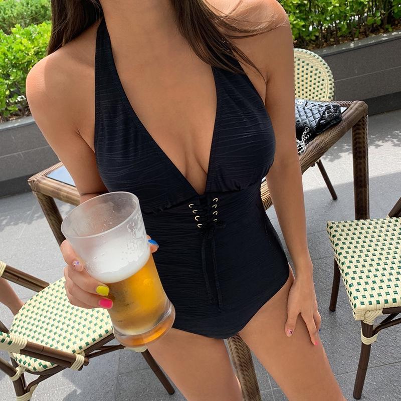F3n4L costume da bagno 2020 nuovo colore solido stile sorgente calda stretto donne sexy profondo backless V costume da bagno lace-up un pezzo vmRJI