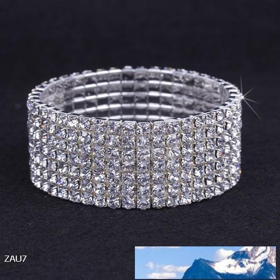 7Row brillante claro del Rhinestone Stretch ZAU7 * 1 regalo de la manera joyería del partido pulsera de la pulsera del brazalete de la mano de la banda elástica compromiso de la boda de novia