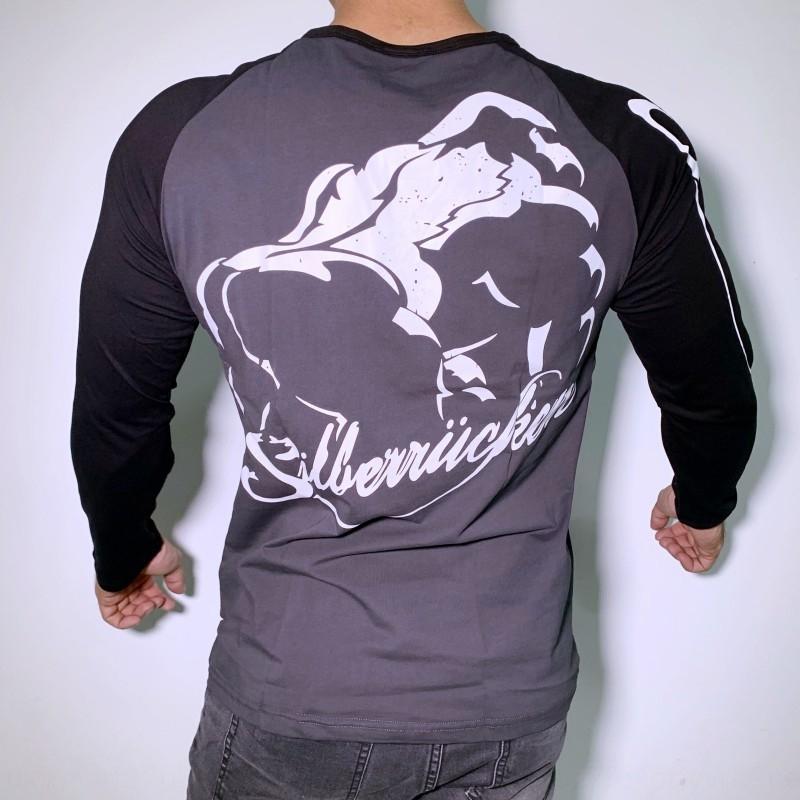 Muscle Brüder Fitness elastische Top elastischer Baumwolle Sport Langarm-T-Shirt Männer Slim Fit atmungs Freizeit Baumwoll-Stretch Training clo