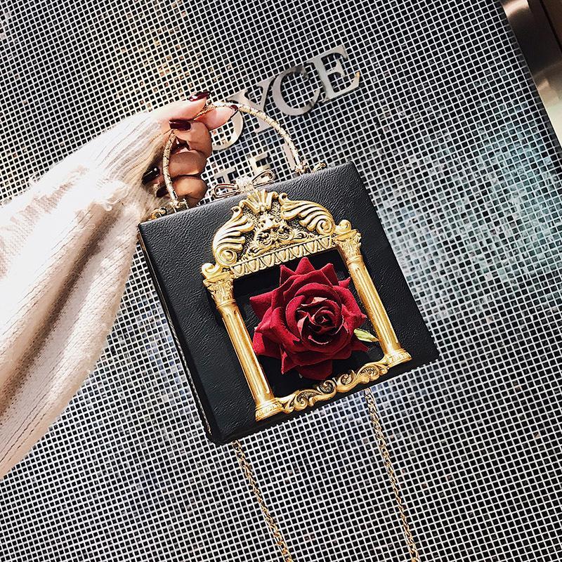 Rosa Sugao Kristall Luxus-Abendtasche Barock Retro Schultertasche Bling Parteigeldbeutel Top Frauen Hochzeit Tag Handtasche