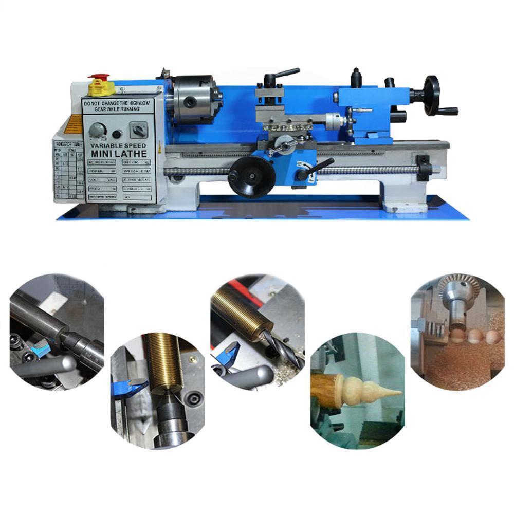 750x380x380mm Mini Yüksek Hassasiyetli DIY Dükkanı Benchtop Metal Torna Aracı Makinesi 550 W Değişken Hız Freze Torna Makinesi