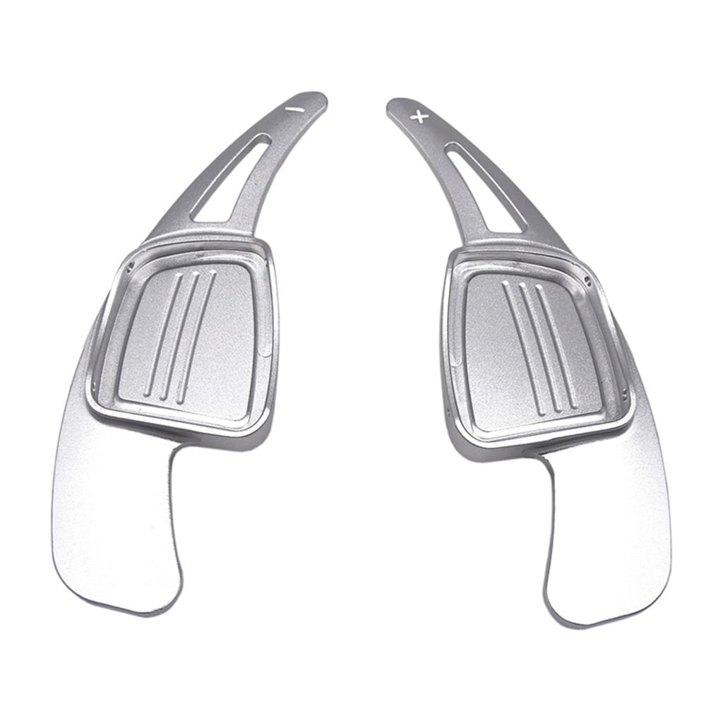 Volante 2x aleación de aluminio de coche de la rotación de la hoja de Paddle Shifter extensión compatible para Audi A4 A5 Q2 Q7 S3 S4 TT TTS 2016-2017, Plata