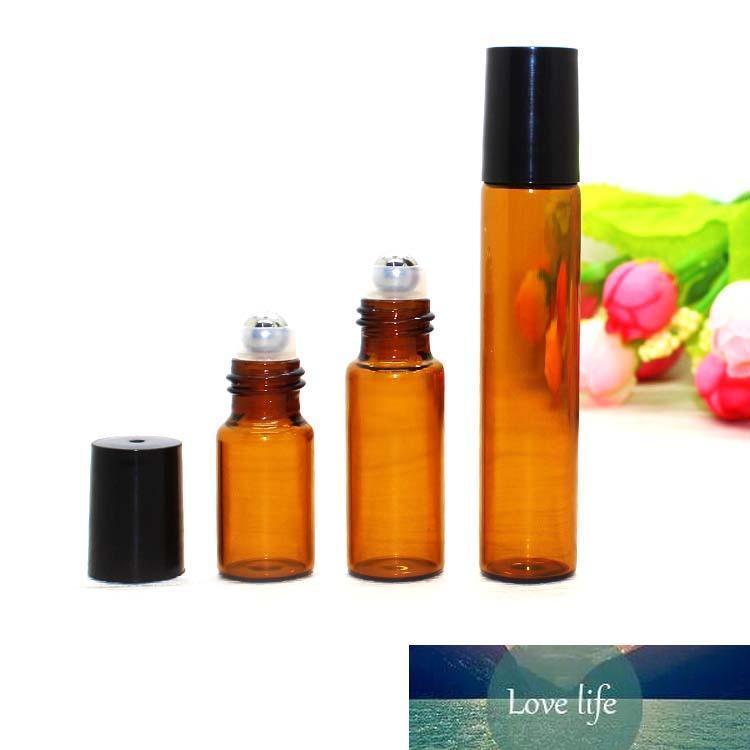 5 ML 1/6 oz de vidrio ámbar Roll en botella recargable perfume del aceite esencial de metal bola de rodillo del rodillo en la botella Negro de viajeros a Cap portátil
