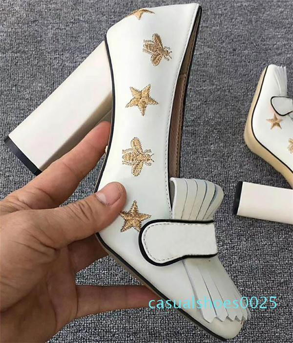 Luxe femmes mi-talon Pompes Mocassins Designer brodé cuir véritable talon haut sandales robe chaussures de mariage avec la boîte Taille 42 C25