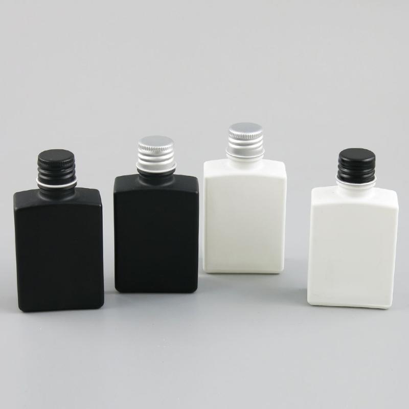 360 x 30ml Travel Ätherisches Öl bereifte Schwar Glasflasche Kosmetik mit Schwarz / Sliver Aluminium-Abdeckung für Flüssiges Reagens Pipette