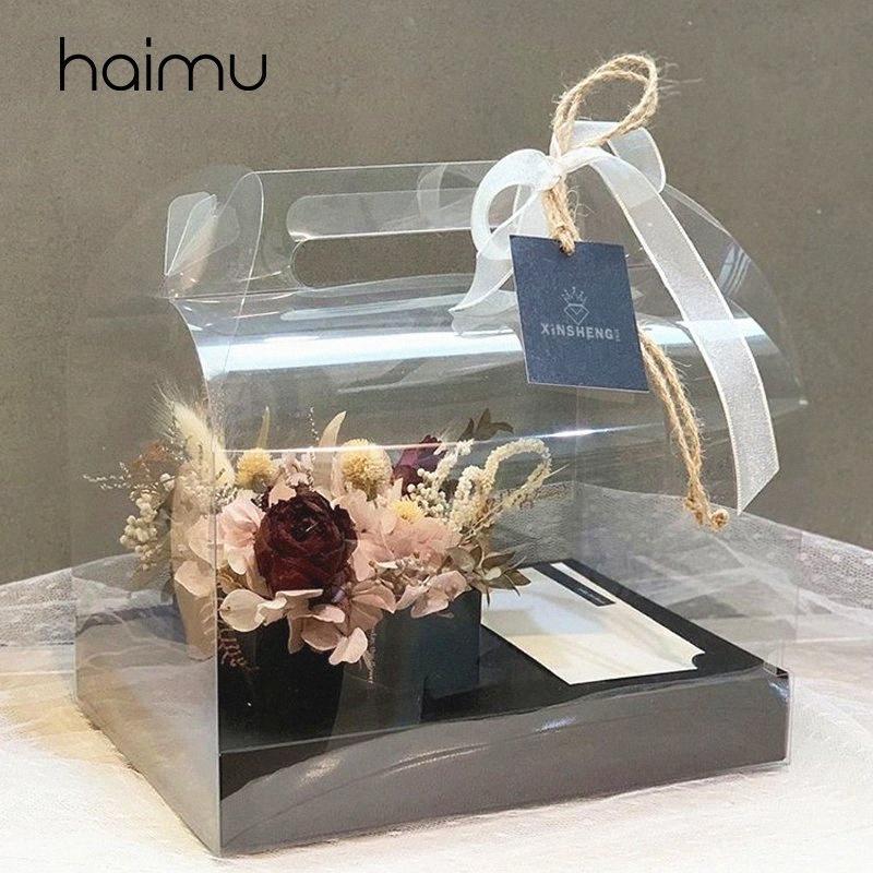 Fresca pequeña transparente favor de PVC partido de la caja decoración ramo de flores caja de embalaje del paquete de floristería Cajas con mano de chJM #