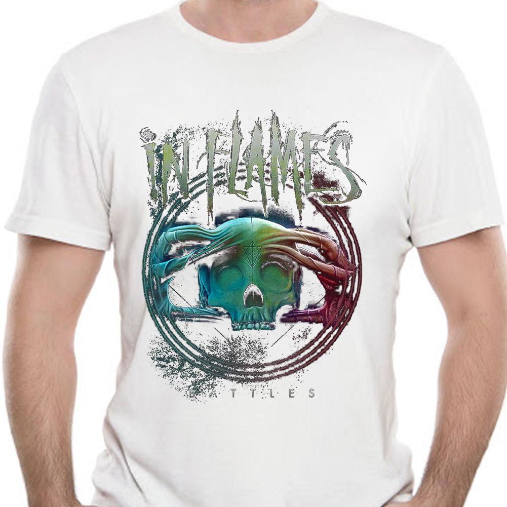 In Flames officiel T-shirt lourds Battles en métal Cercle album L T-shirt manches courtes pour hommes