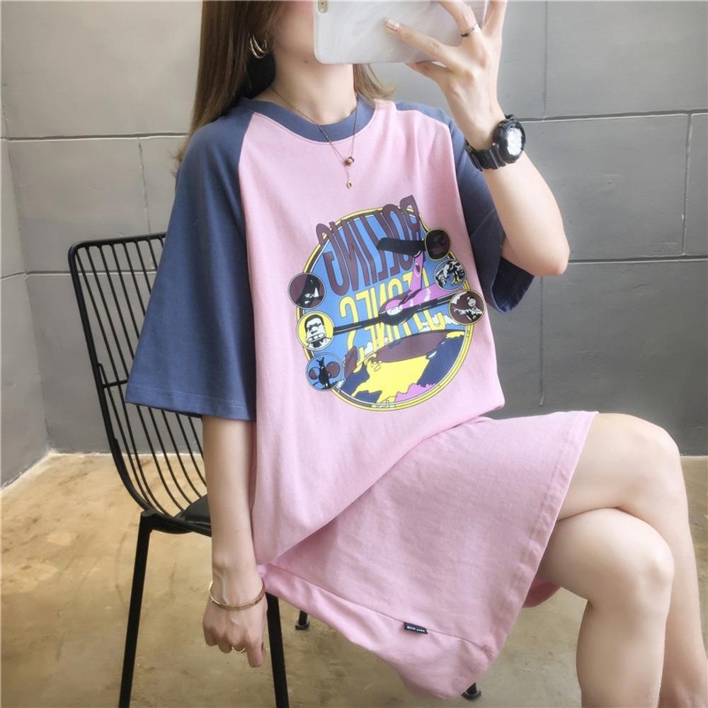 sLSJ6 MVOs1 Футболка Contrast длинная юбка цвета с короткими рукавами футболки женщин лето 2020 модный свободный корейский верхней длинной юбки плеча смонтированный s