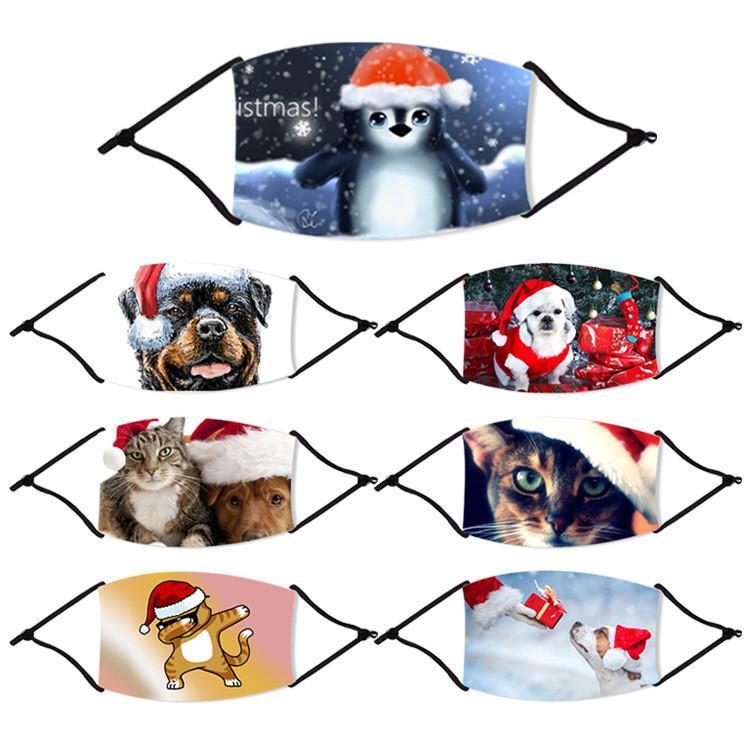 Fashion Christmas Masken gedruckte Weihnachtsgesichtsmasken Antistaub-Cartoon-Tier gedruckte Weihnachtsmundschutz Waschbar Wiederverwendbare Mit Filter FY4235
