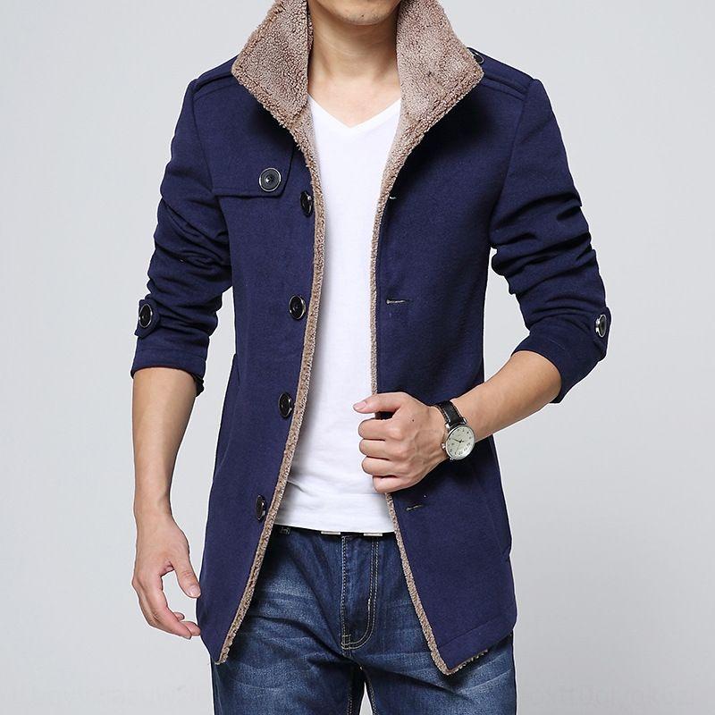 oc0W7 2020 otoño e invierno cuello alto de lana de longitud media cazadora gran cantidad chaqueta de lana Cong rompevientos hombres de la chaqueta de los hombres de cordero