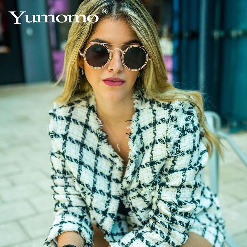 Óculos de proteção 2020 Designer redondo círculo óculos de sol homens mulheres sol retrô tons senhora steampunk ins uv400 marca óculos vrpnn